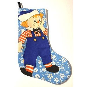 Vintage 60s Raggedy Andy Fabric Christmas Stocking